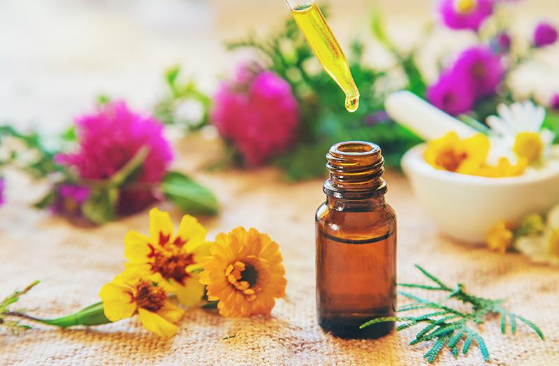 medicamento natural e flores utilizados no tratamento de saúde com medicinas alternativas